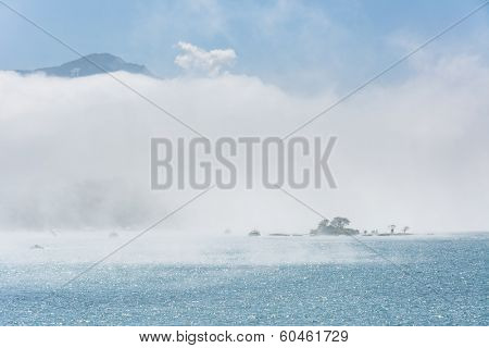 Lalu Island in the mist, the famous attraction of Sun Moon Lake in Taiwan, Asia.