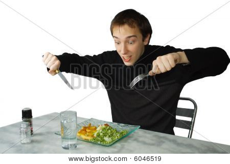 Hungry Young Man Ready To Eat