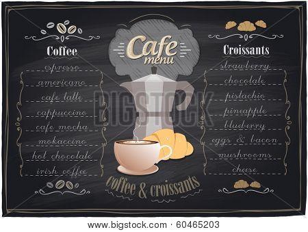 Vintage chalk coffee and croissants menu, chalkboard background. Eps10