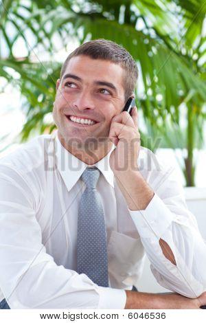 Empresario sentado en el sofá y hablando en móvil