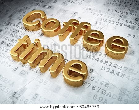 Time concept: Golden Coffee Time on digital background