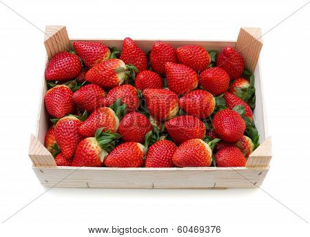 Strawberries With A Wooden Box.