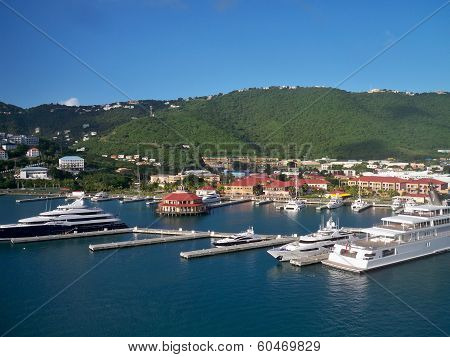 Boats docked in port St. Thomas, USVI