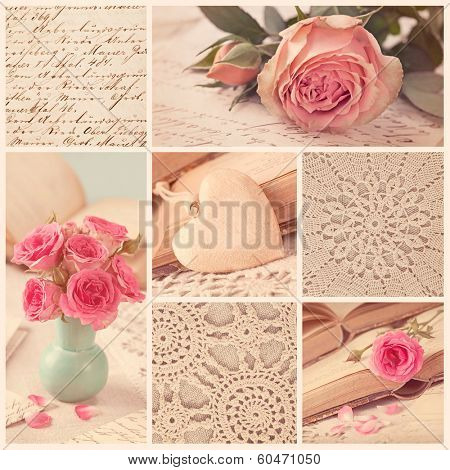 Collage of retro photos with roses and old letters