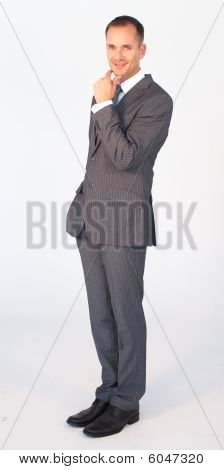 Friendly Businessman Isolated Against White