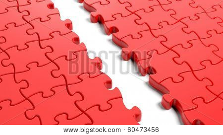 Jigsaw puzzle, red blank template with one row missing