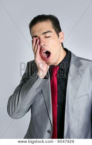 Businessman Yawn Boring On Gray Background