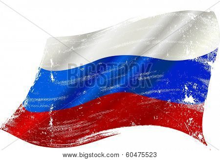 Russian grunge flag. flag of  Russia in the wind with a texture