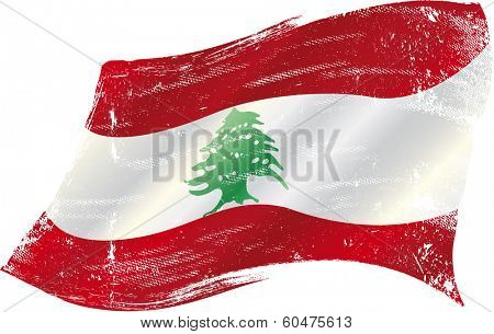 flag of Lebanon in the wind with a texture