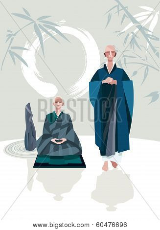 Zen Master And Disciple Vertical