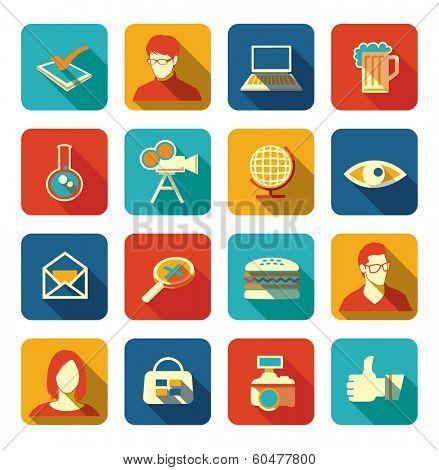 Set of social, media, web icons with long shadows