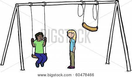 Sad Children At Swing Set