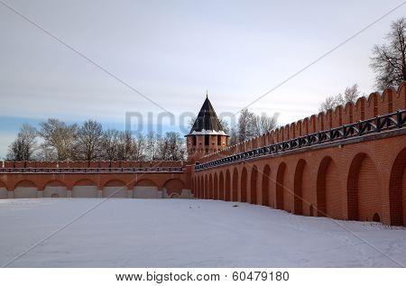 Fortress Kremlin wall. Tula, Russia