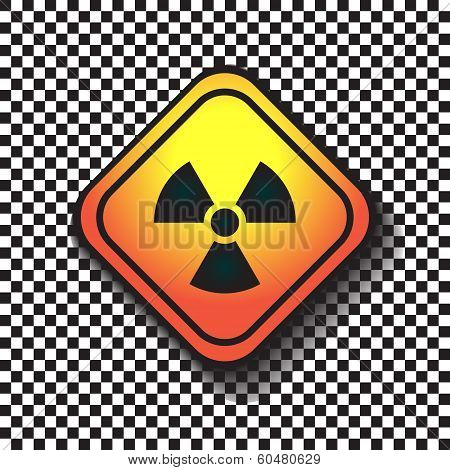 Radiation Hazard Warning Sign On A Square Table On Black And White Background.