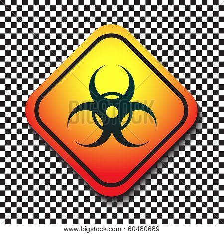 Biohazard Warning Sign On A Square Table On Black And White Background.