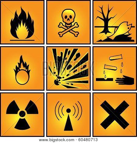 Set Of Warning Signs.