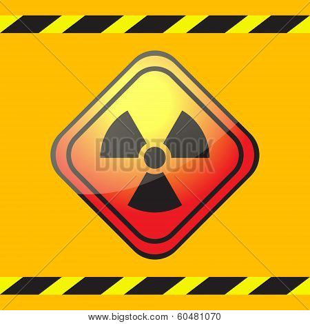 Radiation Hazard Warning Sign On A Square Table On Yellow Background With Warning Ribbons.