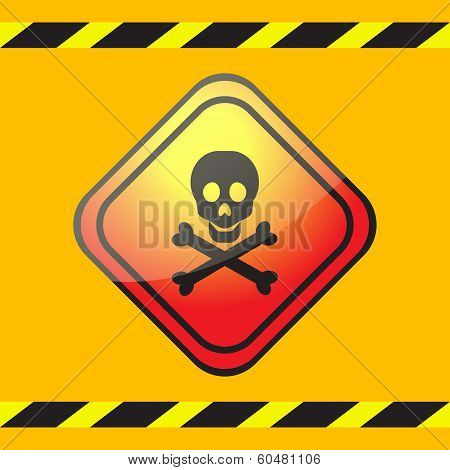 Warning Sign Of Poison On A Square Table.