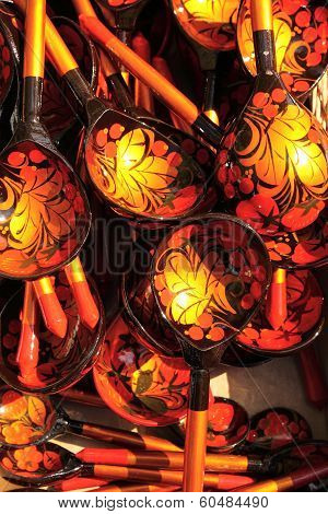 Russian Khokhloma handicraft spoons at the fair