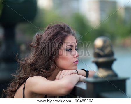 Girl In The City Near The Bridge