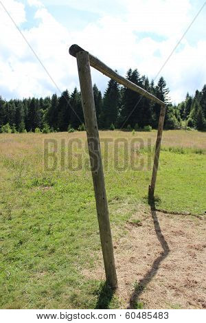 wry football gate in rural field