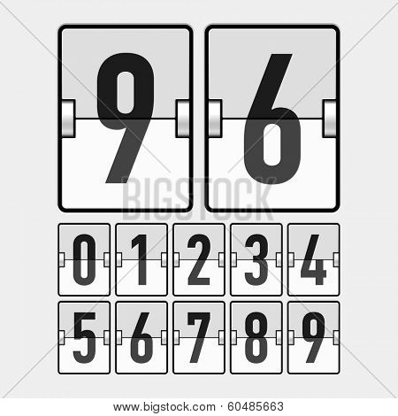 Mechanical timetable, scoreboard, information board, display numbers. Vector.
