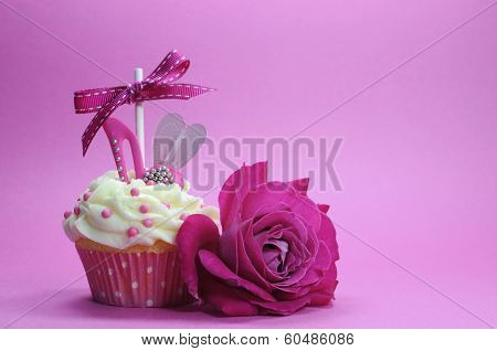Fuchsia Pink Theme Cupcake With Shoe And Heart Decoration And Beautiful Rose, For International Wome