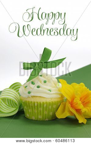 Beautiful Green Decorated Cupcake With Daffodil And Stripe Ribbon On Green Background With Happy Wed