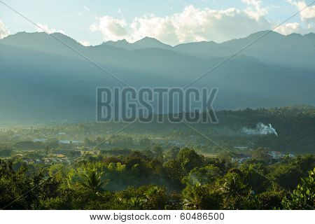 Beautiful misty mountain view in Pai, Northern Thailand