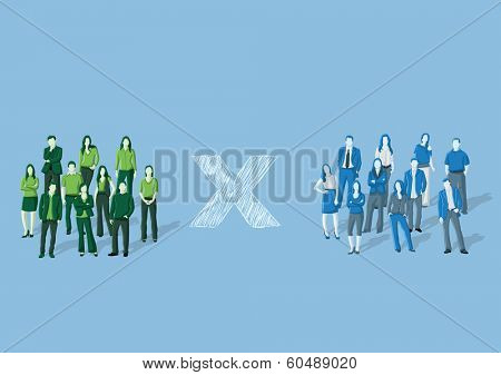 Template for advertising brochure with two groups of business people
