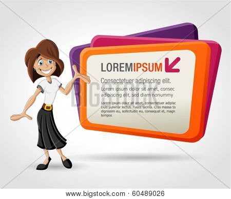 Colorful template with happy cartoon woman and billboard. Presentation screen.