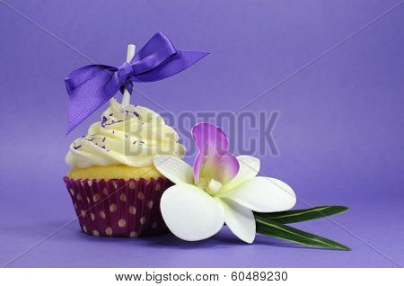 Purple Theme Cupcake With Orchid Flower For Wedding, Bridal Or Baby Shower, Mothers Day, Or Female B