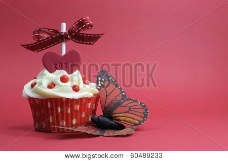 Red Theme Cupcake With Love Heart And Butterfly On Red Background For Valentines Day, Mothers Day, B