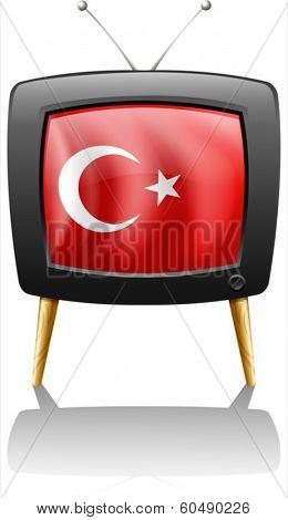 Illustration of a television wit the flag of Turkey on a white background