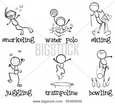Illustration of the different indoor and outdoor activities on a white background