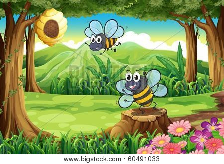 Illustration of a forest with bees and a beehive
