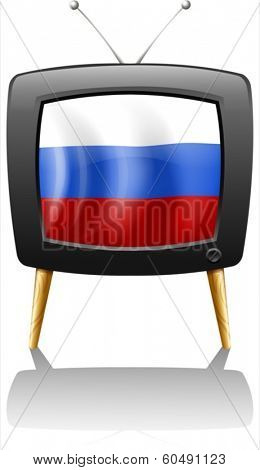 Illustration of the flag of Russia inside a television on a white background