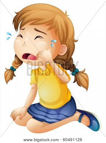 Illustration of a little girl crying on a white background
