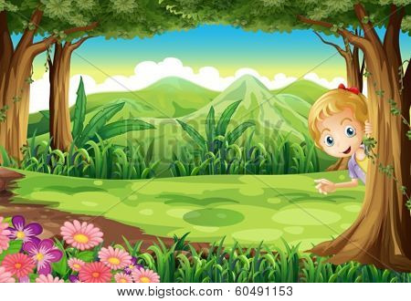 Illustration of a young girl playing hide and seek at the forest