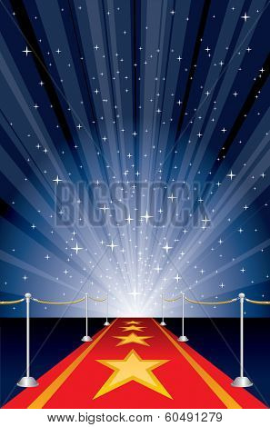 vector illustration with red carpet and star burst
