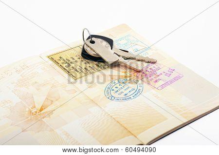 open passport and car keys