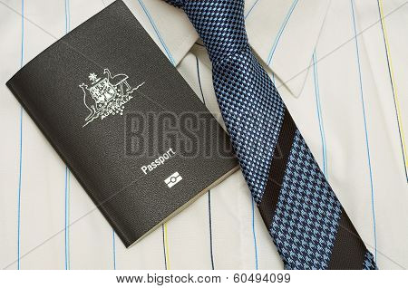 australian passport with shirt and tie
