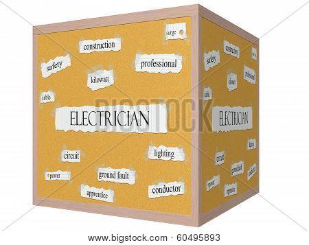 Electrician 3D Cube Corkboard Word Concept