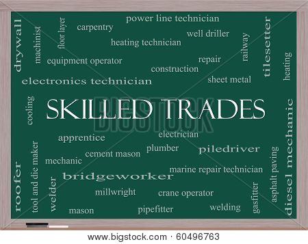 Skilled Trades Word Cloud Concept On A Blackboard