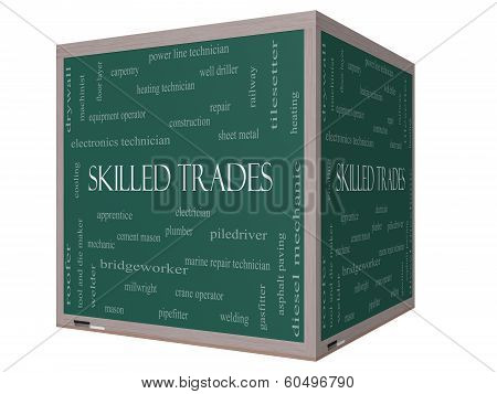 Skilled Trades Word Cloud Concept On A 3D Cube Blackboard