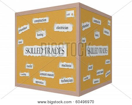 Skilled Trades 3D Cube Corkboard Word Concept