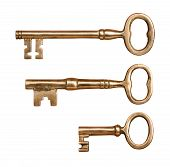 stock photo of skeleton key  - Three Antique Brass Keys isolated on white with a clipping mask - JPG