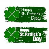 Happy St. Patrick's Day With Shamrock Sign, Green Drawn Banners