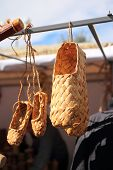 stock photo of baste  - Bast shoes - JPG