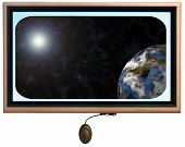 Flatscreen Monitor With Sun And Planet In Display poster